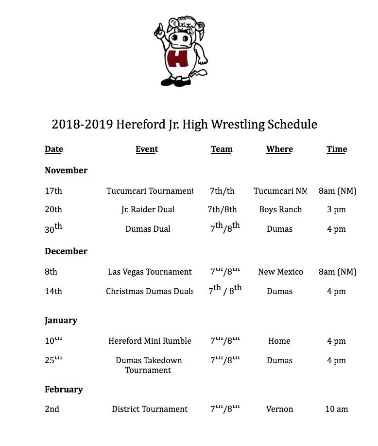 2018-19 Wrestling Schedule