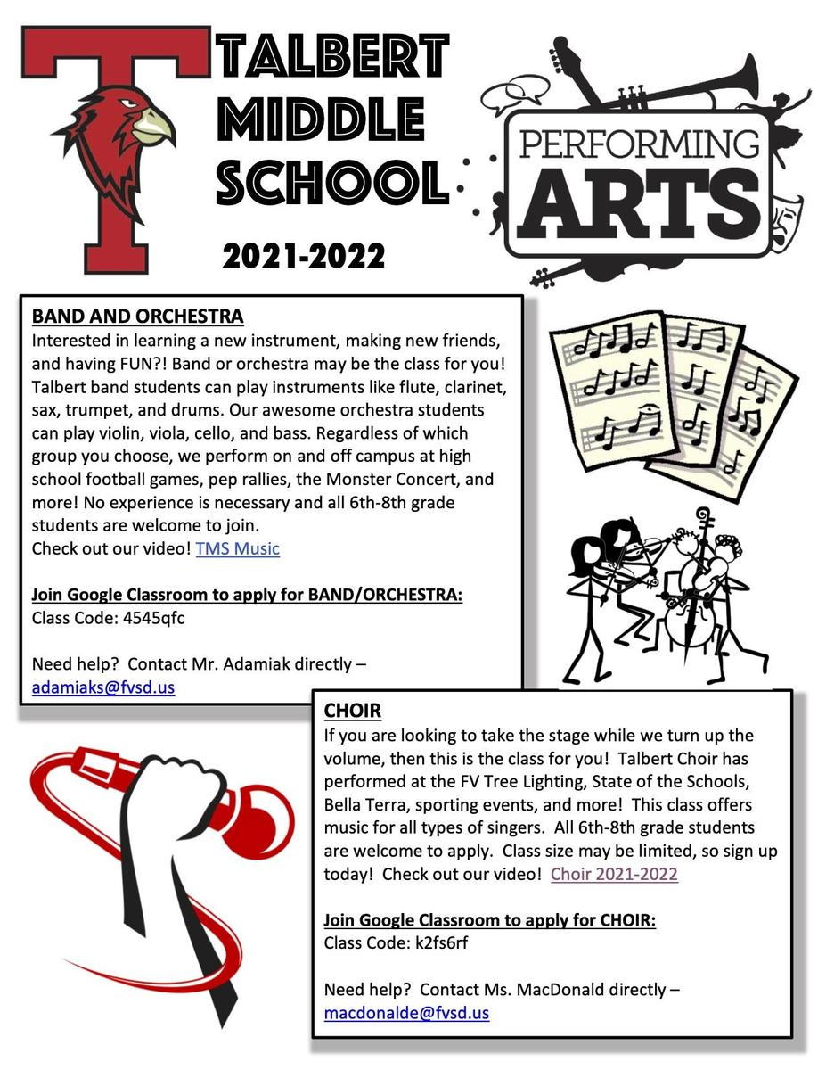 Sign up for Talbert Middle School Performing Arts Classes 2021-2022