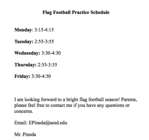 Flag Football Schedule