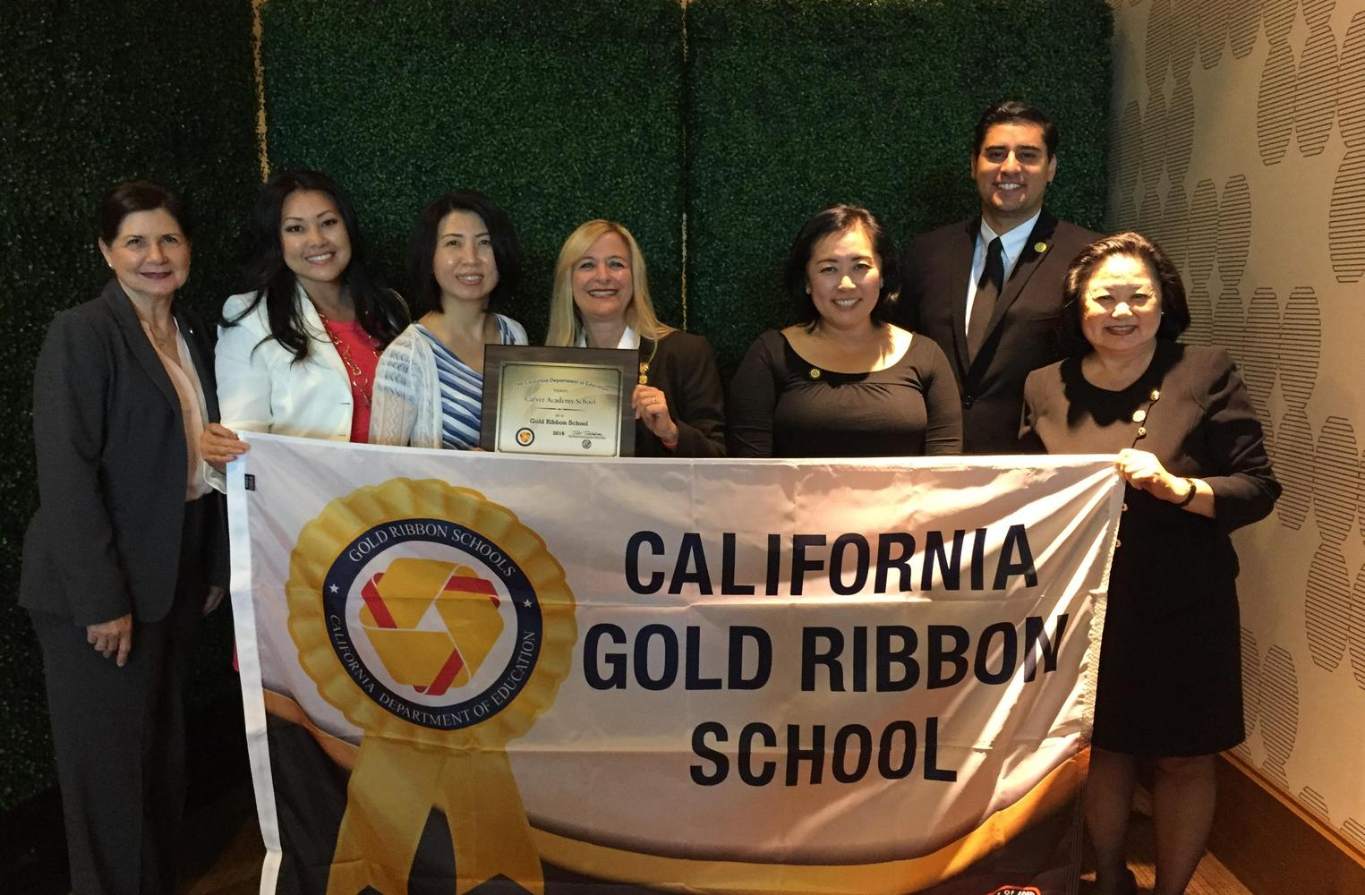 Carver academy receiving CA Gold Ribbon School Award