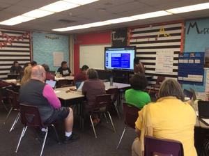 TTL KatheryneHuyhn knocking it out of the ballpark as she facilitates adult learning on #SAMR Ladder during Late Start Friday meeting @MadisonPUSD. It is such an awesome sight to witness #teacher-led Professional Learning happening at PUSD! #promiseofexcellence #proud2bePUSD!