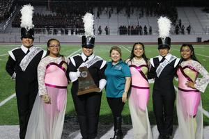 Mission High School Band Drum Majors and Color guard with Dr. Carol G. Perez (Superintendent).