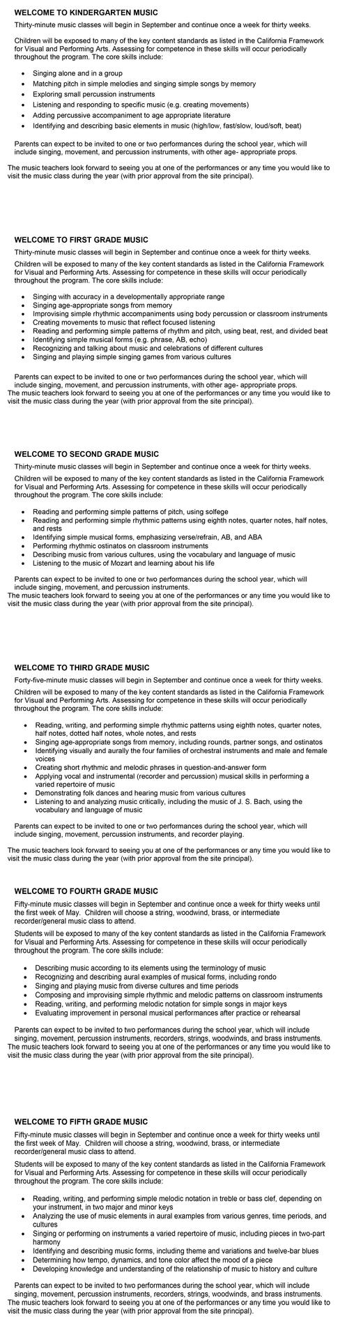 Music Curriculum Summary by Grade