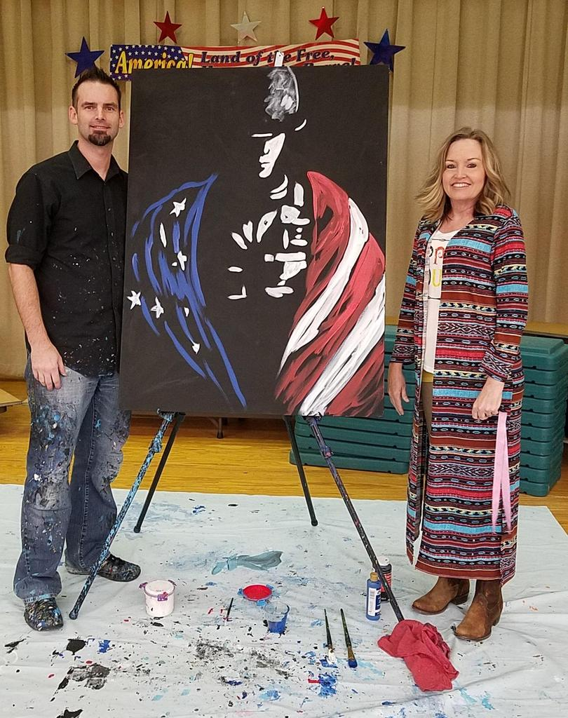 Mr. Brown with Mrs. Gilmore - Patriotic Painting 2018