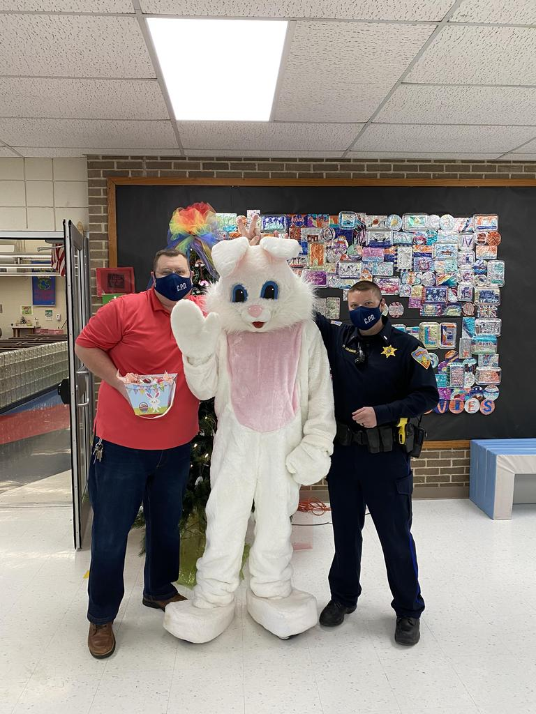 The Easter Bunny and the police officers