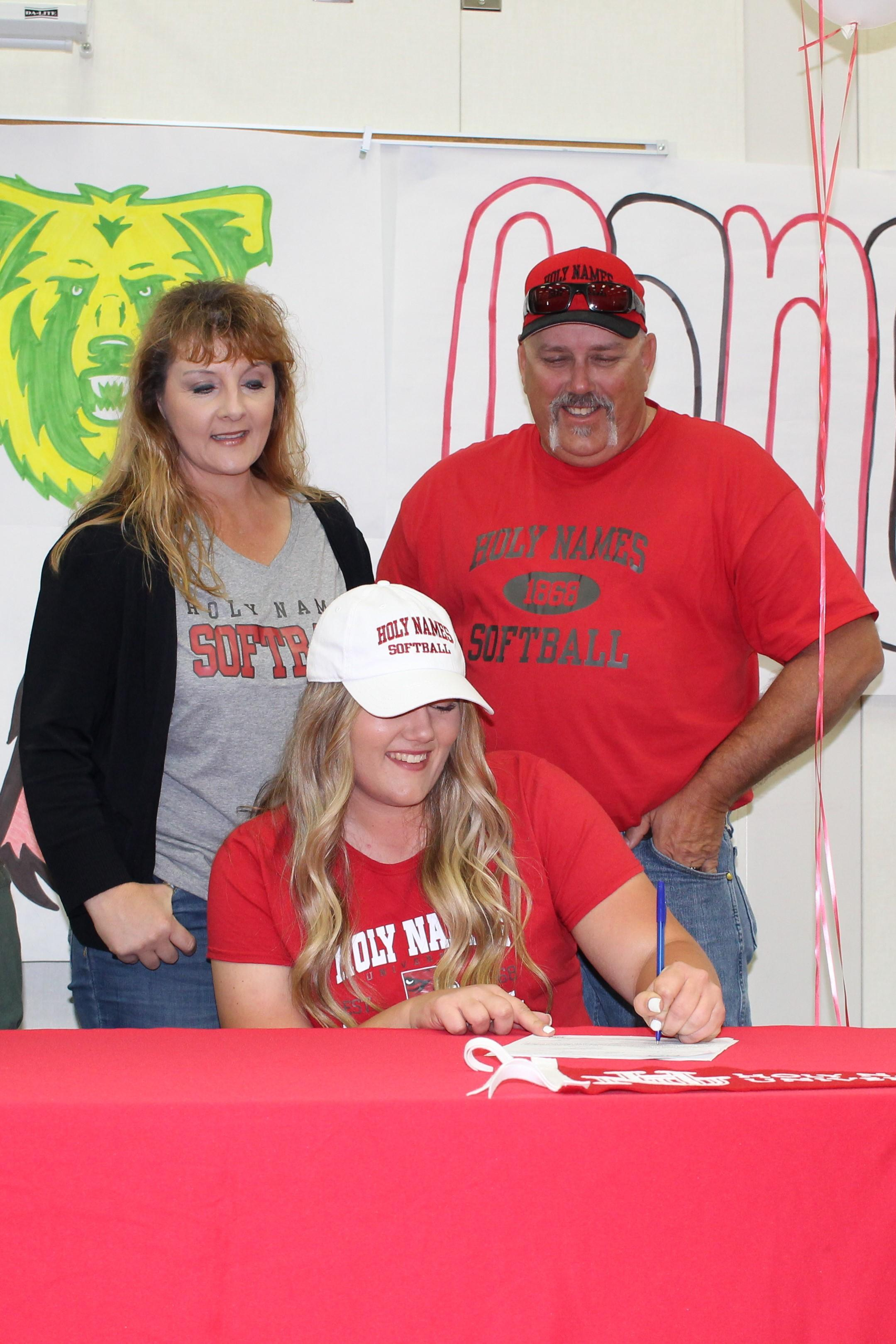 Kelsey Volkmar signs her National Letter of Intent to Attend Holy Names University in Oakland, California to play Softball.