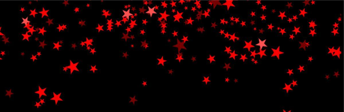 Small red stars against a black backdrop