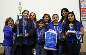 Trophy presentation with students and administrators for Cantu Elementary