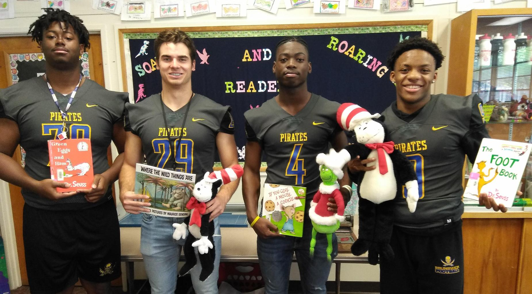 BHS football players participate in Read Across America Day.