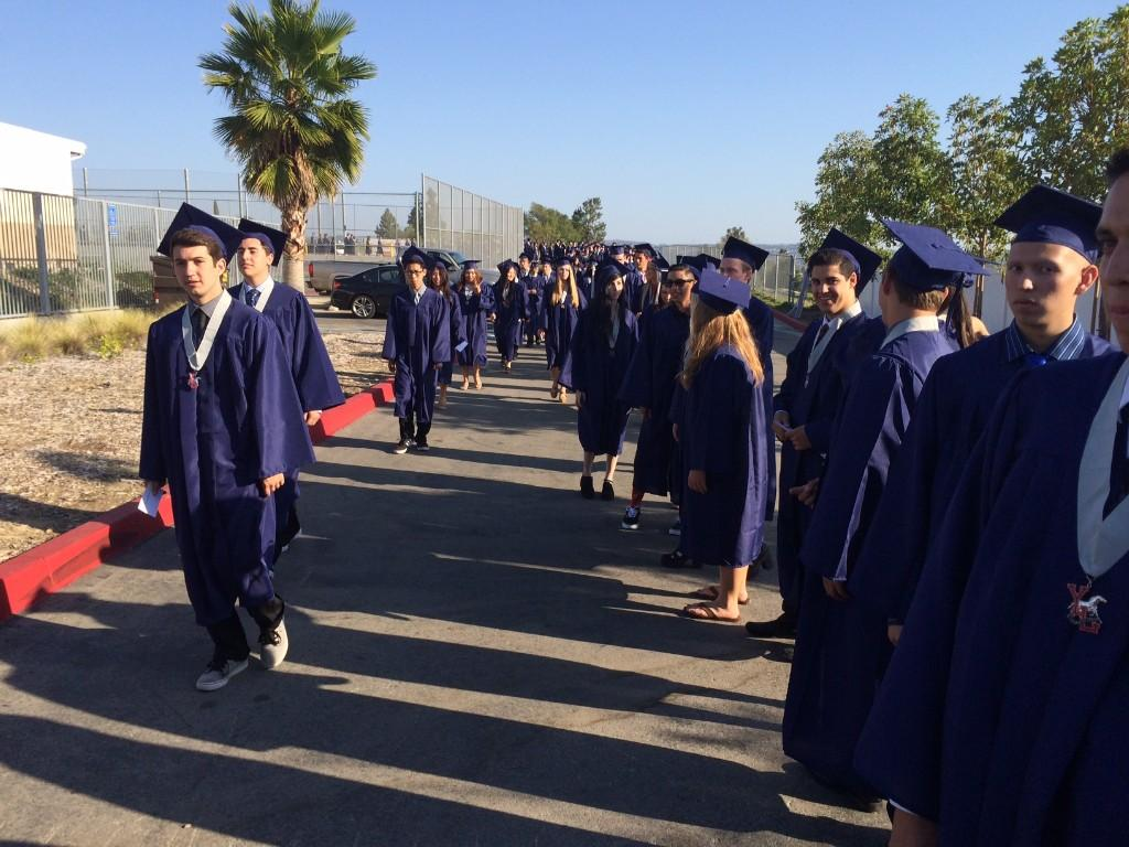 Students entering the stadium
