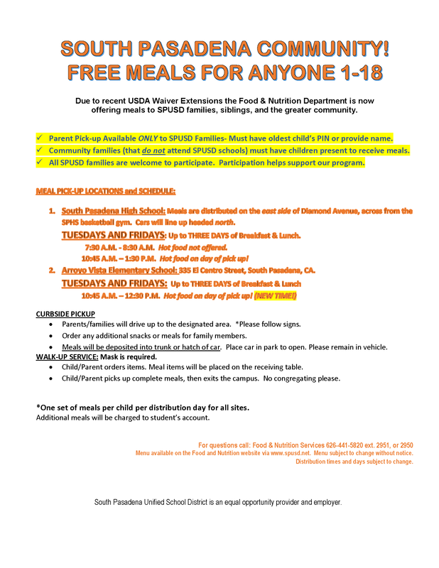 SPUSD Food & Nutrition Offers Free Meals for Community Members ages 1-18 Featured Photo