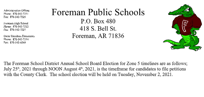 School Board Election notice for Zone 5