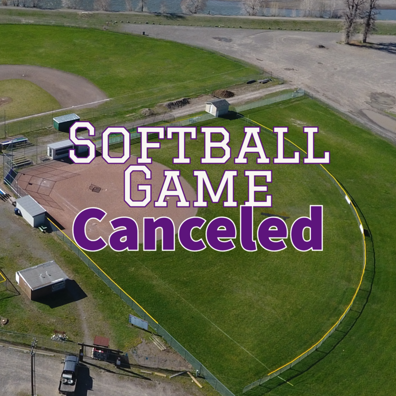Softball Field with Game Canceled text