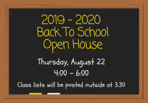 Chalkboard with date and time of open house.
