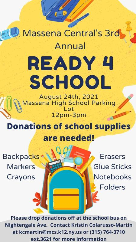 Yellow background with backpack graphic. Will be held on August 24th, 2021 at the Massena High School Parking Lot from 12pm-3pm. Donations of school supplies are needed! Click headline for more information.