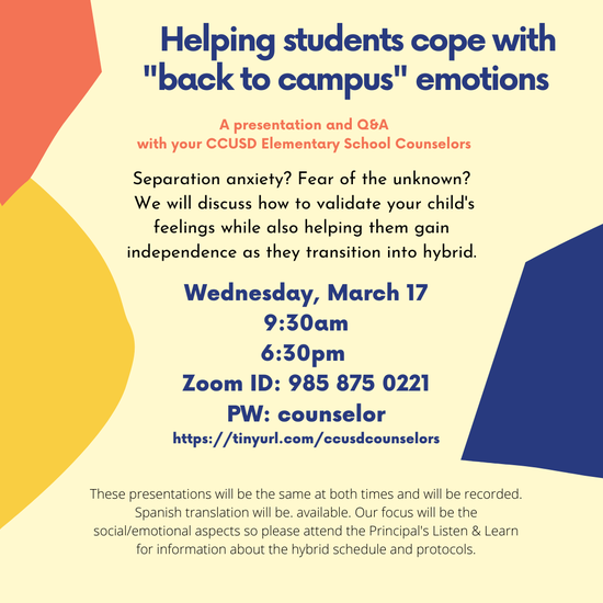 Helping Students Cope with Back to Campus Emotions: Wednesday, March 17th, 9:30AM and 6:30PM Featured Photo