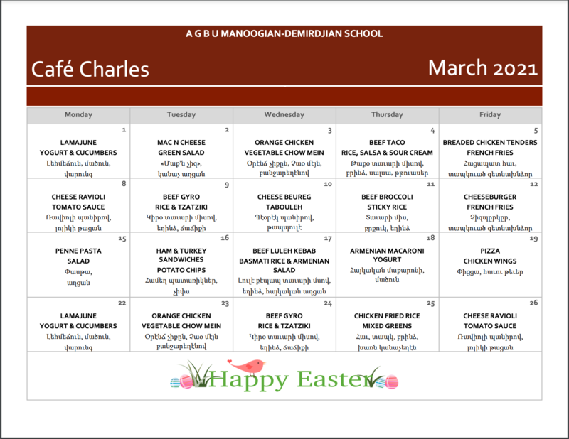 March Lunch Menu Featured Photo