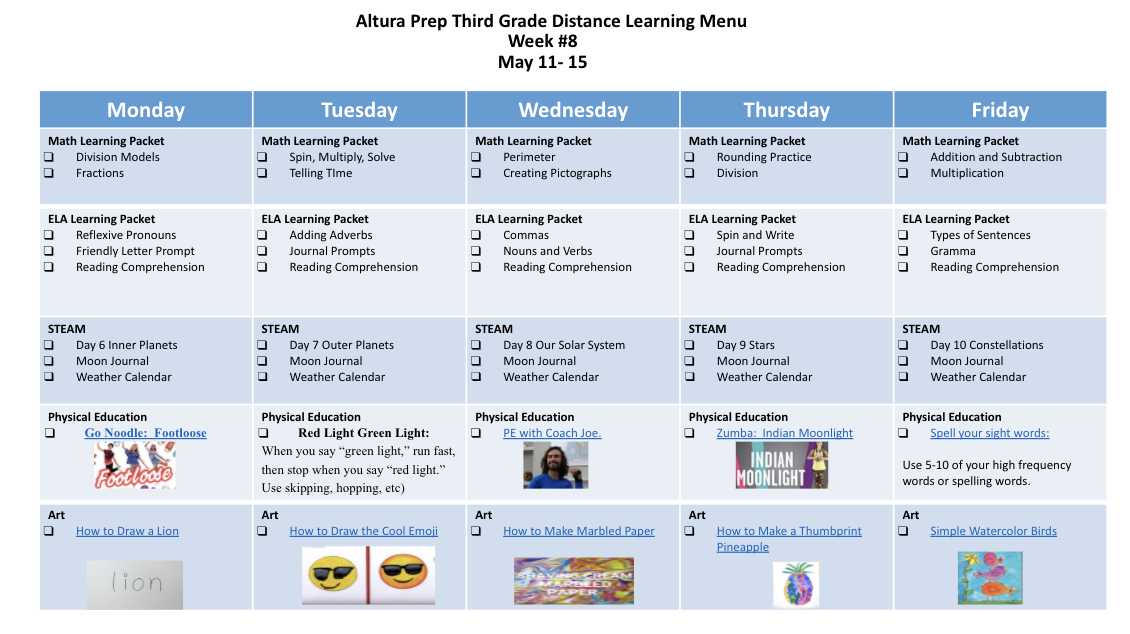 3rd grade distance learning menu
