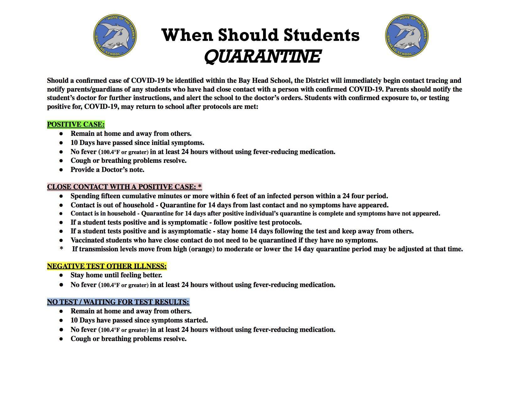 Informational Quarantine Sheet