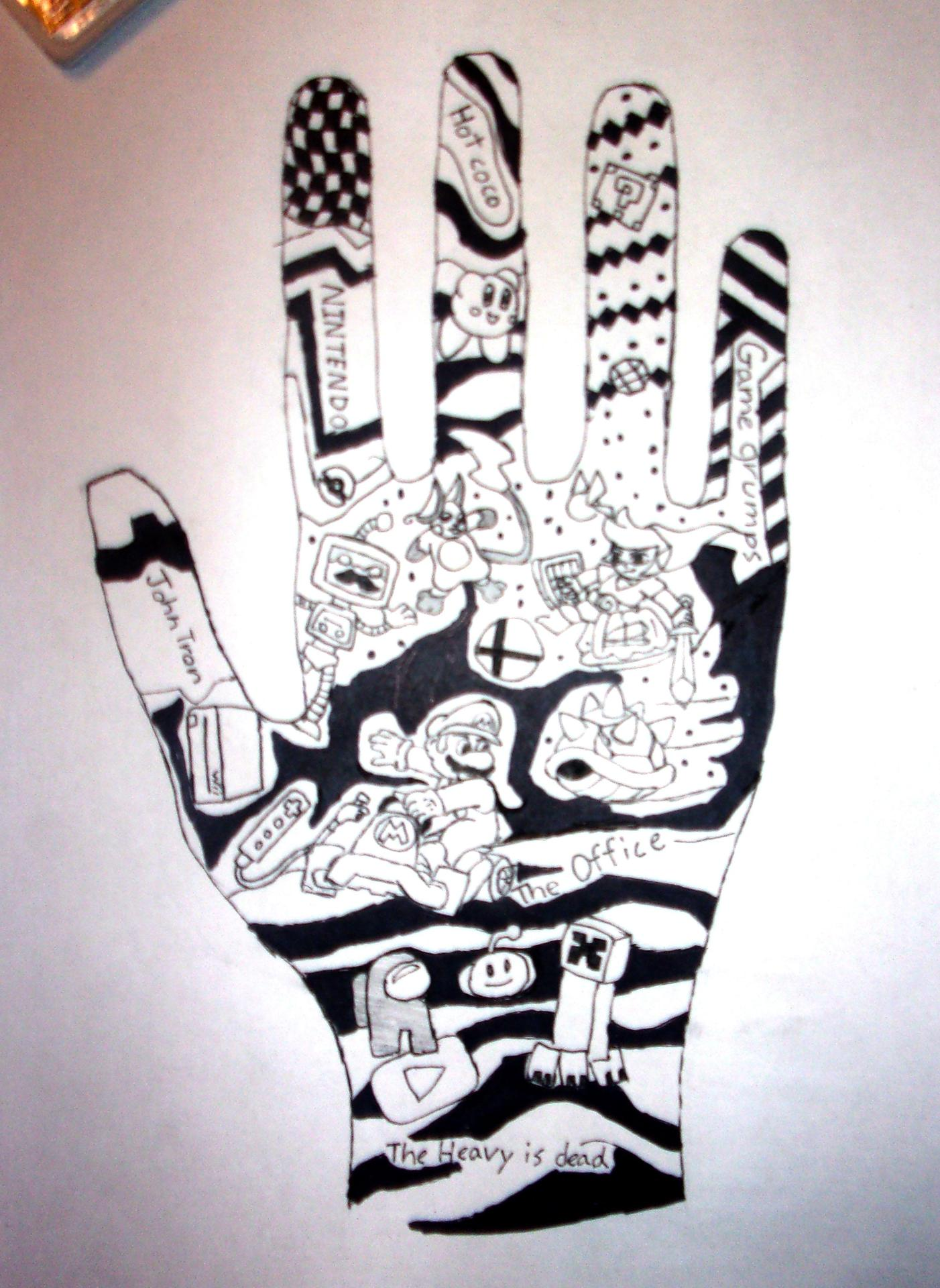 black and white hand painting