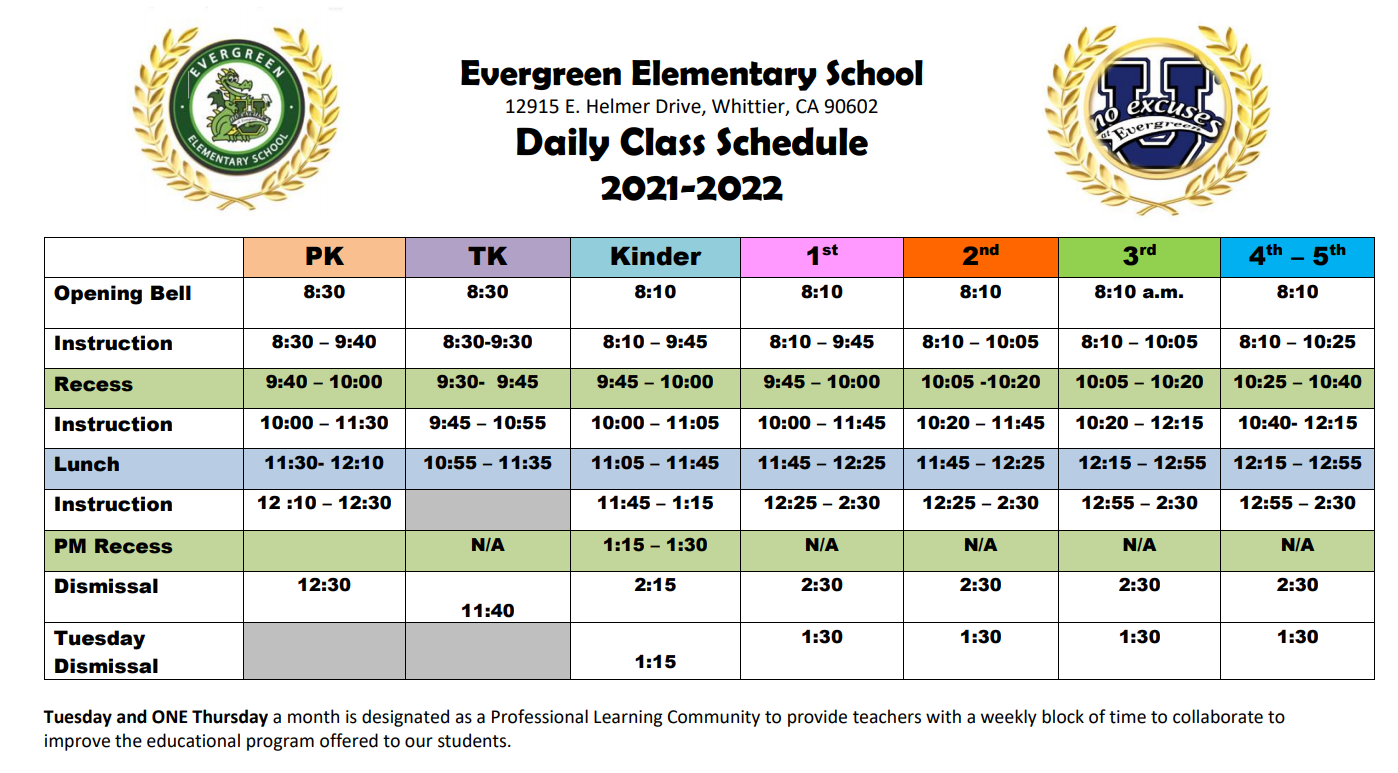 Daily Schedule 21-22