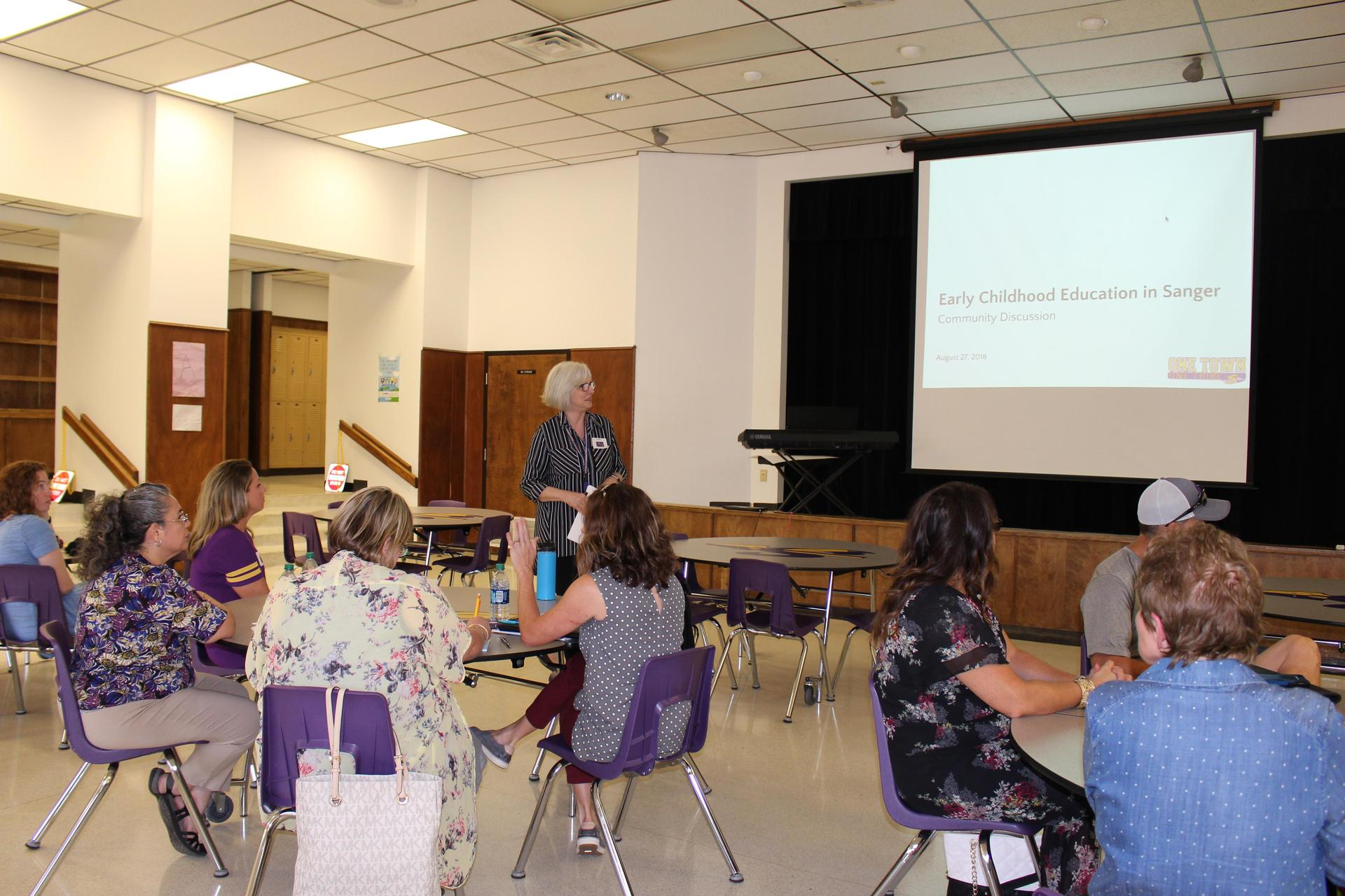 Debby Moore leads the discussion around the future of Pre K in Sanger