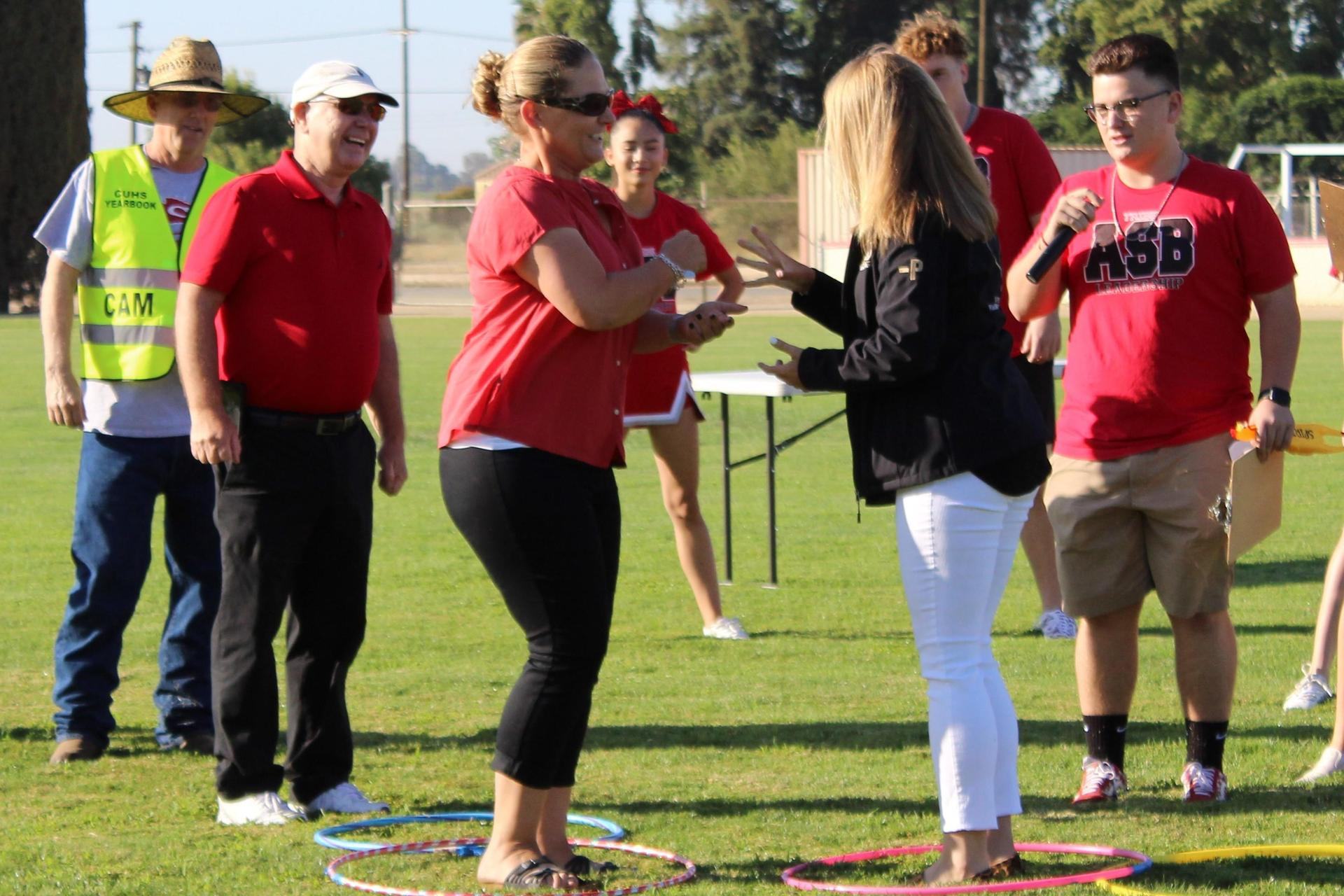 New teachers competing in a rally game