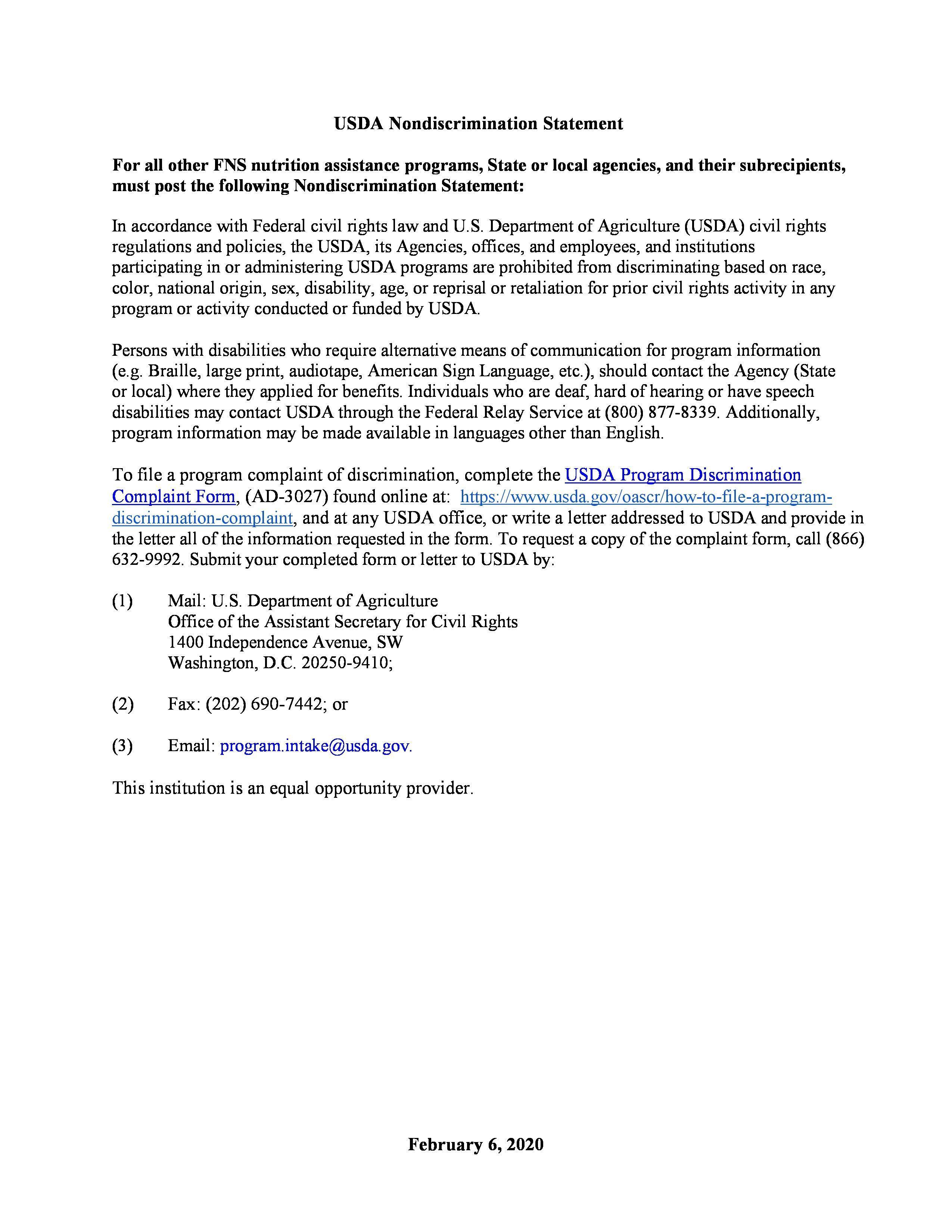 USDA Non Discrimination policy