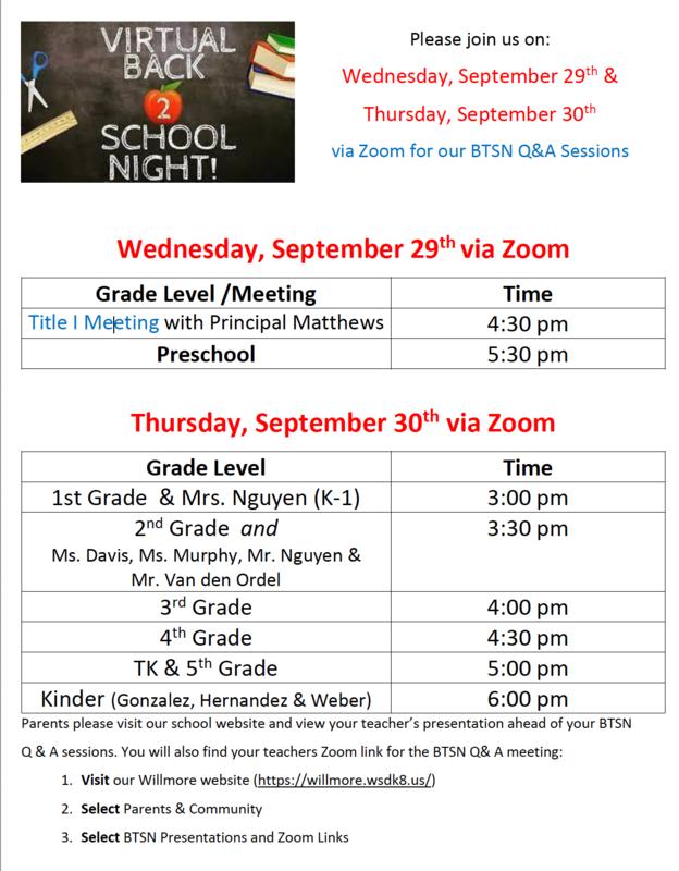 2021 Back to School Night Schedule