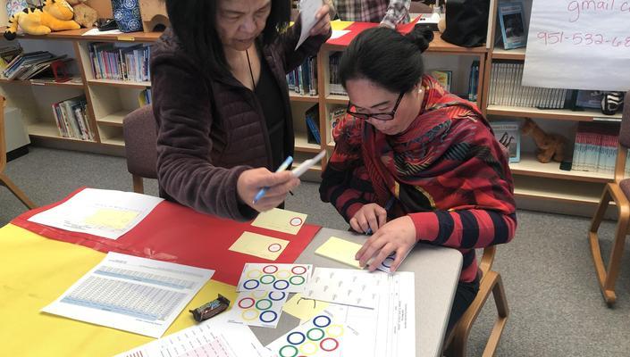 teachers working on data