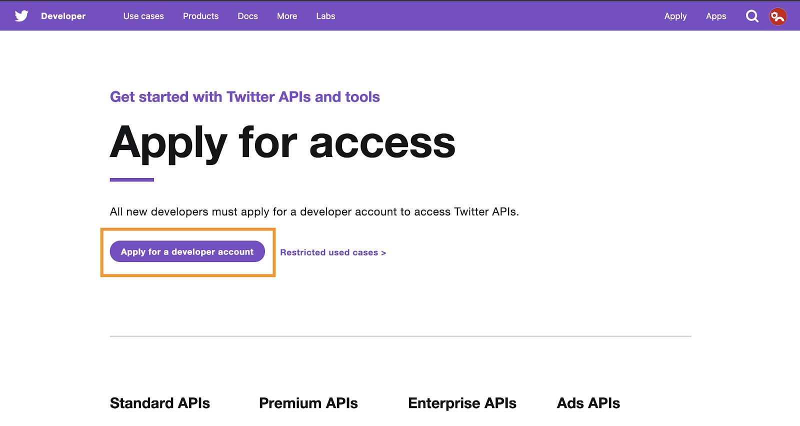 Click 'Apply for a developer account' button