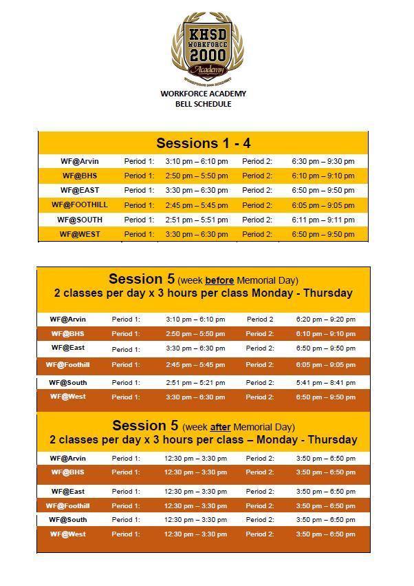 Workforce Academy Bell Schedule