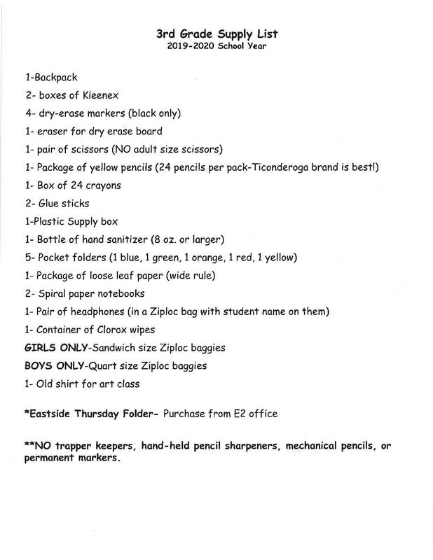 Supply List for 3rd Grade Thumbnail Image