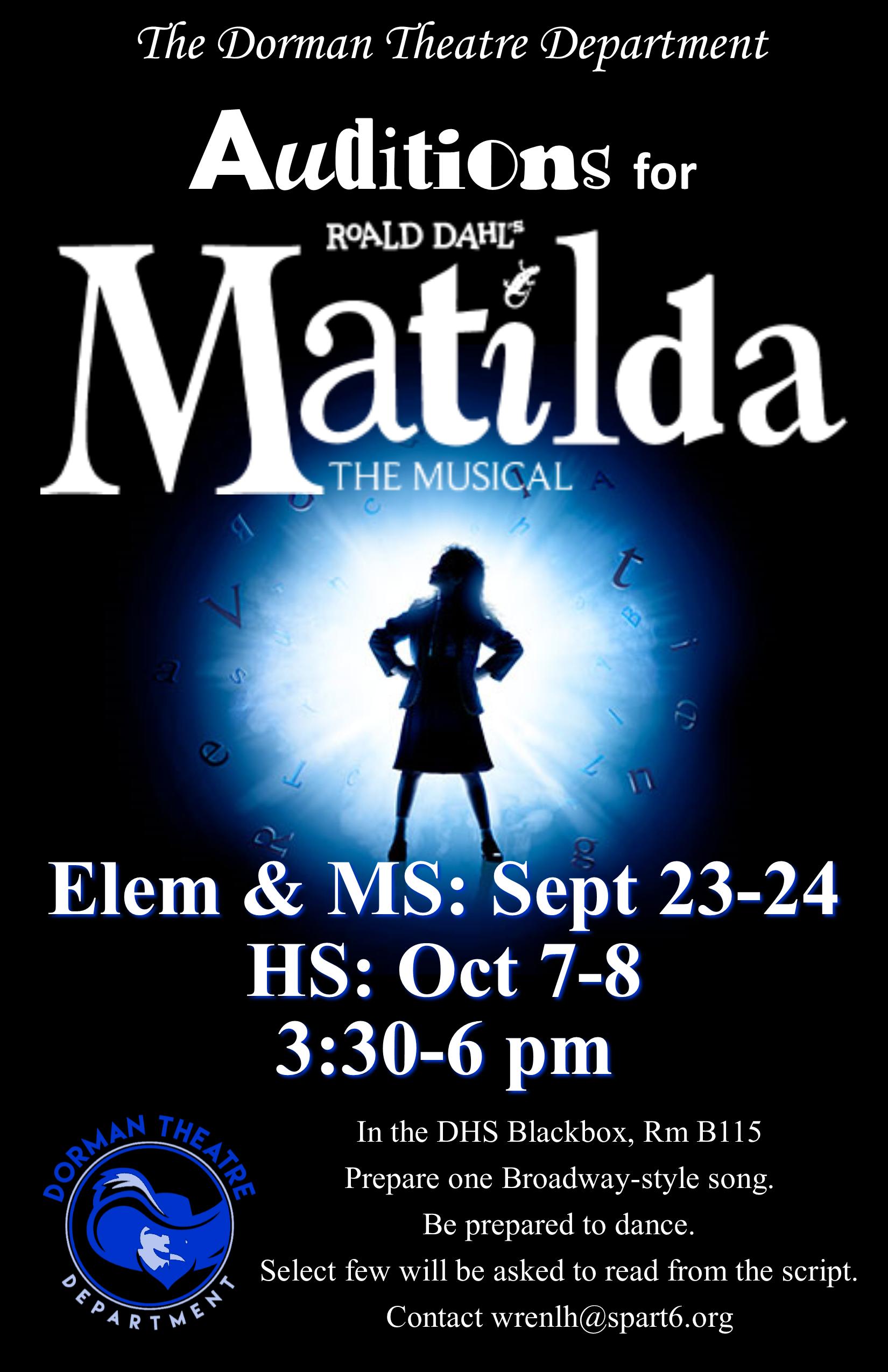Matilda audition poster