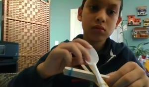 Student showing STEM project