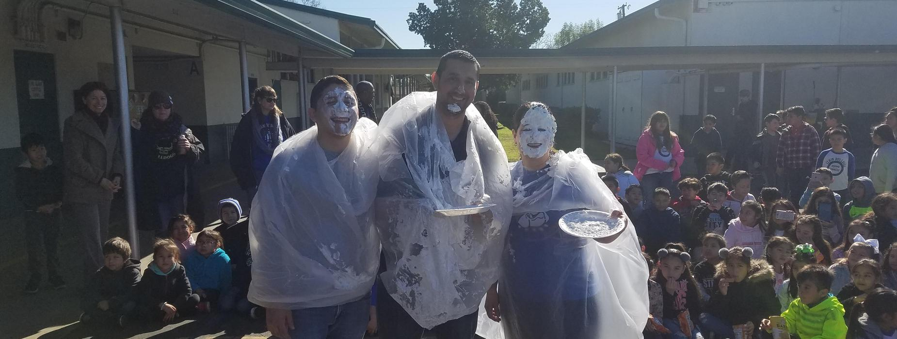photo of Mrs. Cubillo, Mr Saldana, and Mr. Anaya after the pie in the face reward