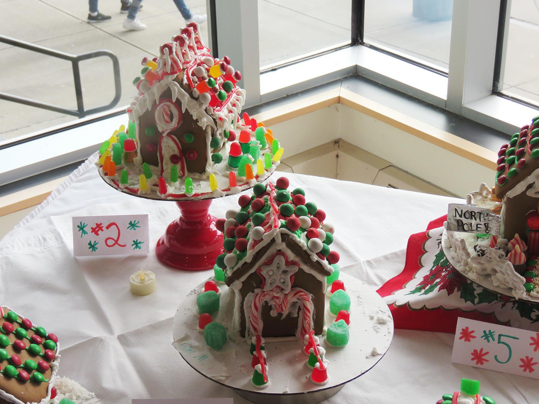 Two intricately-decorated gingerbread houses
