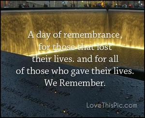 9/11 quote with image of memorial in background