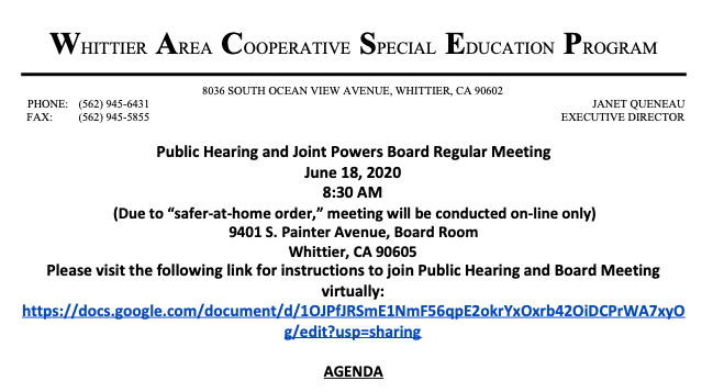 Screenshot image of the agenda for the Public Hearing and Joint Powers Board Meeting for June 18, 2020.