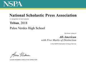 Triton NSPA Merit Award 2018