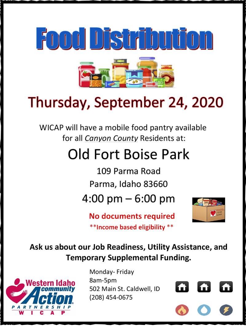 WICAP will have a mobile food pantry available at 114 West Chicago Street Caldwell, ID 83605 4:00-6:00 pm