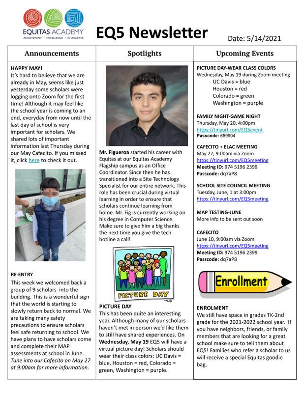 May Newsletter / Boletin de Mayo Featured Photo