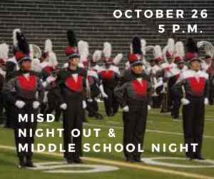 Band students on the marching field
