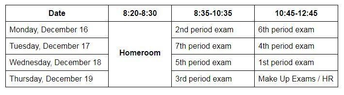 Winter 2019 Final Exam Schedule