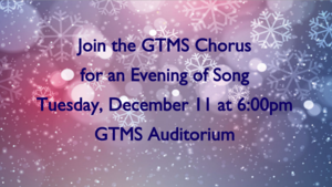 Chorus Concert Tuesday, Dec. 11 at 6:00pm