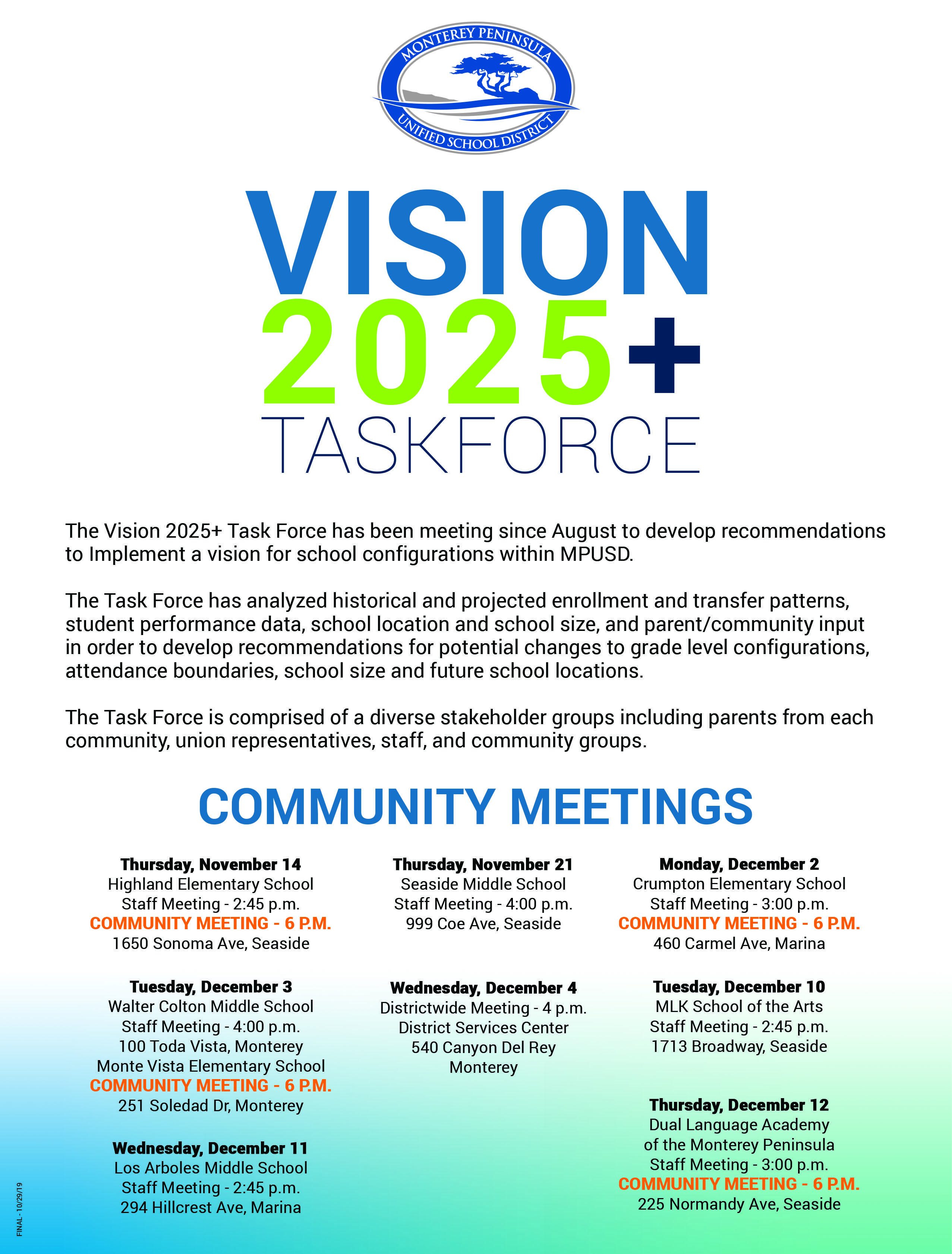 Vision 2025+ Community Meeting Flyer Listing dates and times for town hall meetings.