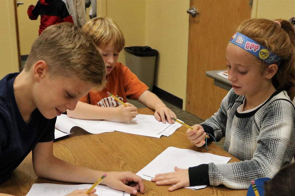 McKinley 3rd graders work on a Word Search during a visit to the Westfield Memorial Library