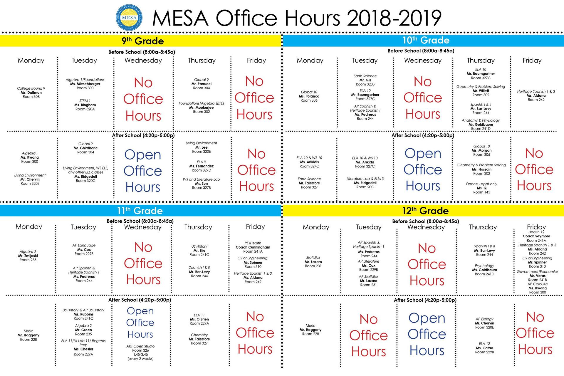 Office Hours for the 2018-2019 School Year!