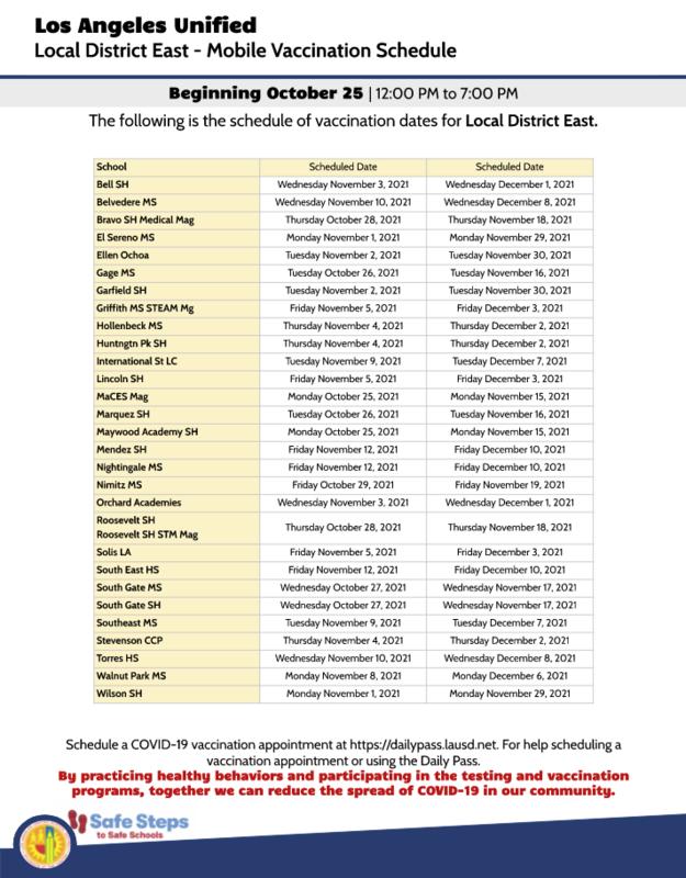 Mobile Vaccination Schedule// Calendario de Vacunas Movil Featured Photo