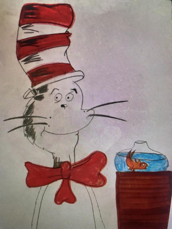 Cat in the hat and fish drawing